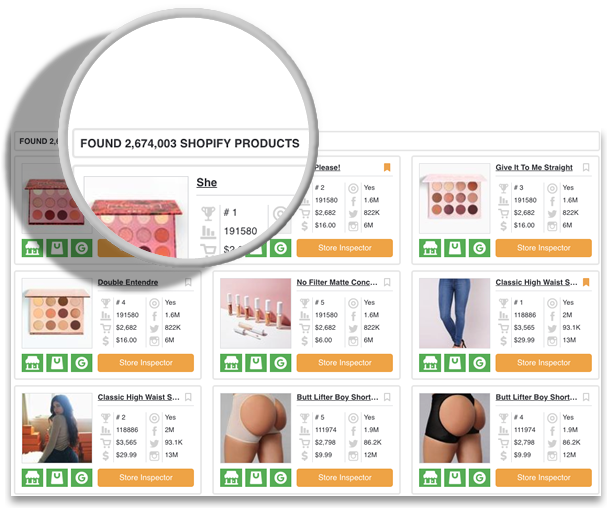 Intelligynce Shopify products screenshot